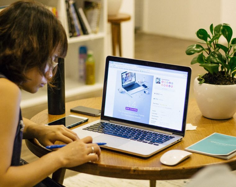 Women Working from Home On Computer