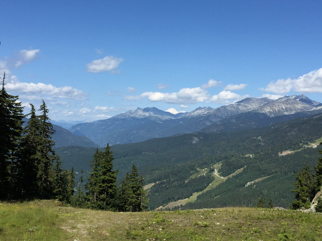 view from mid-mountain trail in Whistler